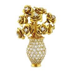 Vintage 18K Yellow Gold & 4ct Diamond Rose Bouquet Pendant, 14K Gold Chain