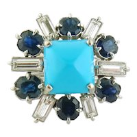 Vintage Estate 14K Gold Turquoise Diamond Sapphire Cluster Cocktail Ring,  Sz:9.75