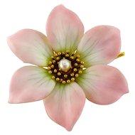 Antique 14K Gold Enamel Enameled Pearl Pink Flower Pin Brooch Pendant