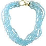 Vintage 14K Yellow Gold & 400ct Blue Topaz Torsade Multi-Strand Choker Necklace