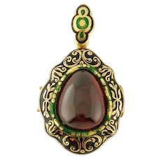Antique Victorian 18K Cabochon Garnet Enamel Mourning Locket Pendant