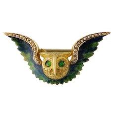 Antique Art Nouveau Riker Brothers 14K Gold, Enamel, Emerald, Seed Pearl Owl Watch Pin, c. 1900s