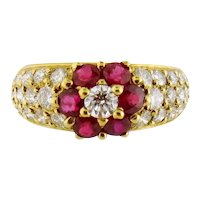 Vintage 18K Yellow Gold Diamond Ruby Flower Band Ring, Size:5.5