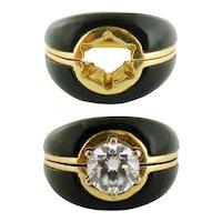 Vintage 18K Yellow Gold & Onyx Ring Enhancer Size: 5.25