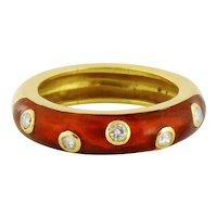 Vintage Estate 18K Diamond Enamel Stackable 5mm Band Ring, Size:6