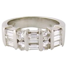 Vintage Estate Platinum Baguette Round Diamond Half Eternity Band Ring Size: 6.5