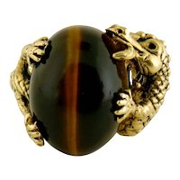 Vintage 14K Gold Large Tiger's Eye and Dragon Ring, Unisex Size: 8.5