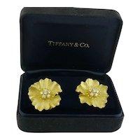 Tiffany & Co 18K Yellow Gold & Diamond Alpine Rose Flower Earrings c.1990s