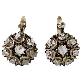 Antique 14K Silver Rose-cut Diamond Cluster Earrings