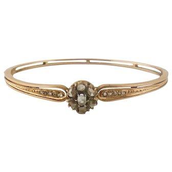 Antique 14K Silver Rose-cut Diamond Cluster Bangle Bracelet