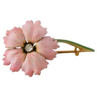 Antique Edwardian 14K Gold Enamel Diamond Hibiscus Flower Pin Brooch