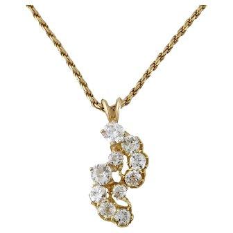 Vintage 14K Yellow Gold 2ct Old Mine-Cut Diamond Pendant Wheat Chain Necklace