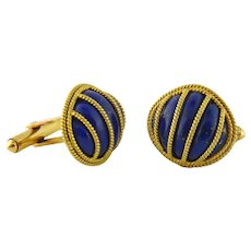 Vintage 18K Yellow Gold & Lapis Lazuli Cufflinks Cuff Links