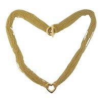Estate Tiffany & Co 18K Yellow Gold Multi-Strand Chain Open Heart Necklace