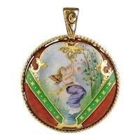 Antique Victorian 14K Gold Hand Painted Fairy Miniature, Guilloche Enamel & Diamond Medallion Pendant