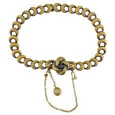 Antique Victorian Krementz 14K Gold Enamel Lover's Knot Link Bracelet