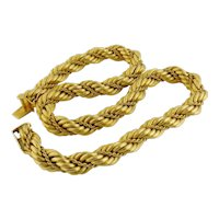 """Vintage Tiffany & Co 18K Yellow Gold 10mm Rope Chain Necklace, Length: 16.25"""""""