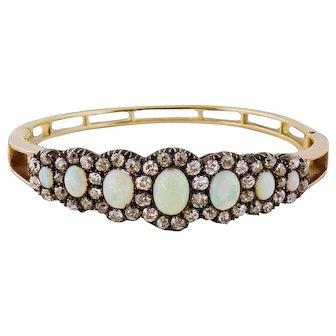 Antique 14K Gold, Silver, Opal and 3ct Old Mine-cut Diamond Bangle Bracelet