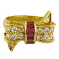 Vintage Tiffany & Co 18K Gold, Diamond & Ruby Ribbon Bow Ring, Size: 5