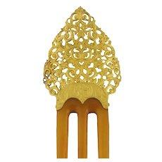 Antique Edwardian Ornate 14K Gold & Horn Hair Pin Comb, c.1900