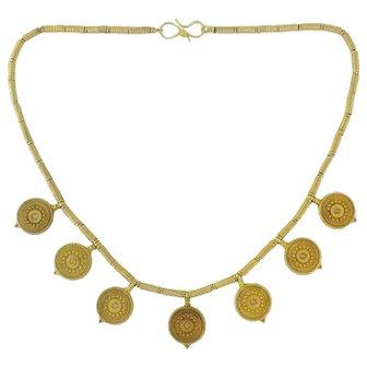 Castellani 15K Gold Rose Cut Diamond Etruscan Design Medallion Necklace c.1980s