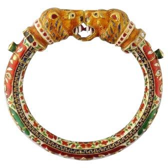 Vintage Indian Hindu 18K Enamel White Topaz Lion Heads Bangle Bracelet