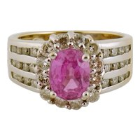 Le Vian 18K Yellow/White Gold 1.30ct Pink Sapphire and 1ct Diamond Ring Sz:6