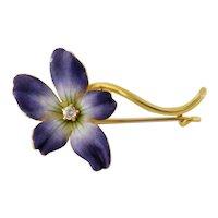 Antique Victorian 14K Old Mine-cut Diamond Enamel Violet Flower Pin Brooch