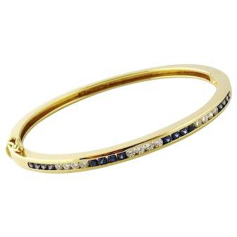 Tiffany & Co Estate 18K Yellow Gold Diamond Sapphire Bangle Bracelet