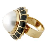 """Vintage Erte Onyx & Mabe Pearl """"Soleil Noir"""" Domed Ring Limited Edition 5/75"""