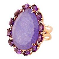 Superb 18K Rose Gold, Lavender Chalcedony, Amethyst & Diamond Cocktail Cluster Ring, Sz:10.5