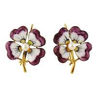 Antique Victorian 14K Gold, Enamel & Pearl Flower Earrings, c. 1900