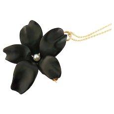 """Riker Bros. Antique Art Nouveau 14K Enamel Violet Flower Pin Pendant w/18"""" Chain"""