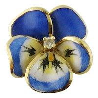 Vintage 18K Gold, Enamel and Diamond Pansy Pendant Charm