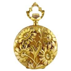 Antique Art Nouveau Waltham 14K Yellow Gold Daisy Ornate Watch Pendant