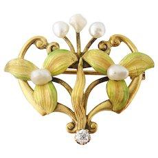 Antique Art Nouveau 14K Gold Iridescent Enamel Freshwater Pearl Floral Watch Pin
