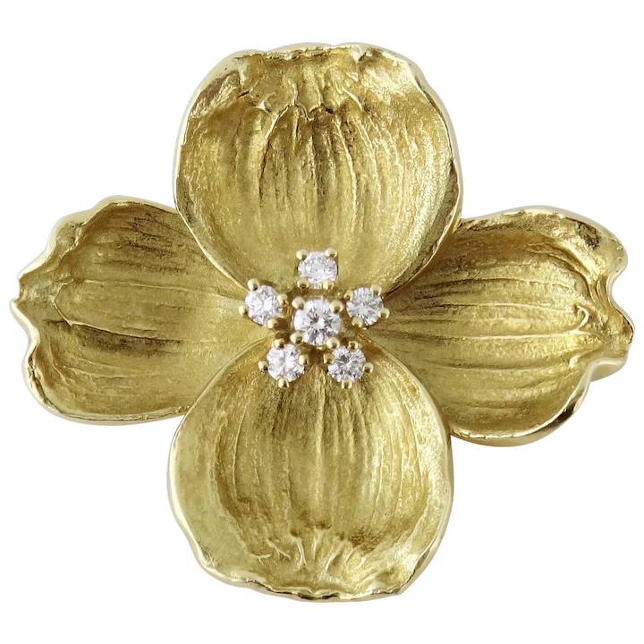 cb8754801c3a3 Tiffany & Co 18K Yellow Gold Diamond DOGWOOD Flower Brooch Pendant, c. 1980s