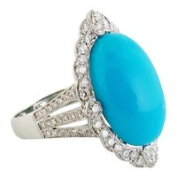 GIA Natural Turquoise Diamond Halo 18K Gold Cluster Cocktail Ring, Size:6.75