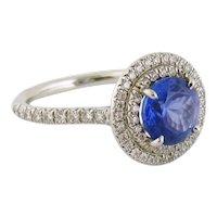 Tiffany & Co SOLESTE Platinum 1.92ct Tanzanite & Double Halo Diamond Ring