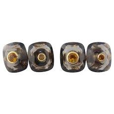 Trianon 18K Gold Smoky Quartz & Citrine Double Link Cufflinks Ret:$3,100 NWT