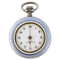 Antique Gallet & Co Sterling Silver & Guilloche Enamel Watch Pendant
