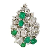 Estate Vintage 14K Gold 2.30ct Diamond 1.30ct Emerald Cluster Cocktail Ring, Sz: 8.25