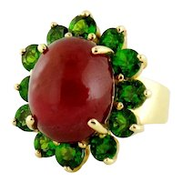 GIA 14K Gold Ruby Cabochon & Chrome Diopside Cluster Cocktail Ring, Size:5.5