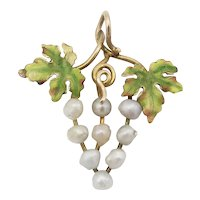 Antique Victorian 14K Gold Enamel & Pearl Bunch of Grapes Grape Cluster Pendant