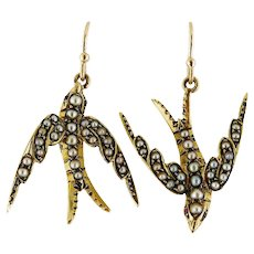 Antique Victorian 15K Yellow Gold & Seed Pearl Swallow Bird Dangle Earrings   Antique Pin Conversion
