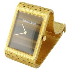 Vintage Estate Audemars Piguet Men's 18K Gold Tiger's Eye Wristwatch Watch