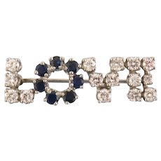 "Vintage Platinum Diamond & Sapphire ""LOVE"" Pin"