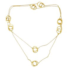 "Estate Tiffany & Co 1837 18K Yellow Gold Interlocking Circles 32"" Chain Necklace"
