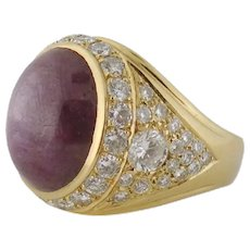 Men's Large 14K Gold 20ct Ruby Cabochon 3.90ct Diamond Ring Size: 13.25