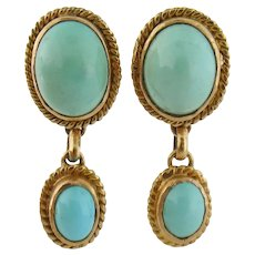 Antique 14K Yellow Gold Turquoise Pendant Drop Screw Back Earrings
